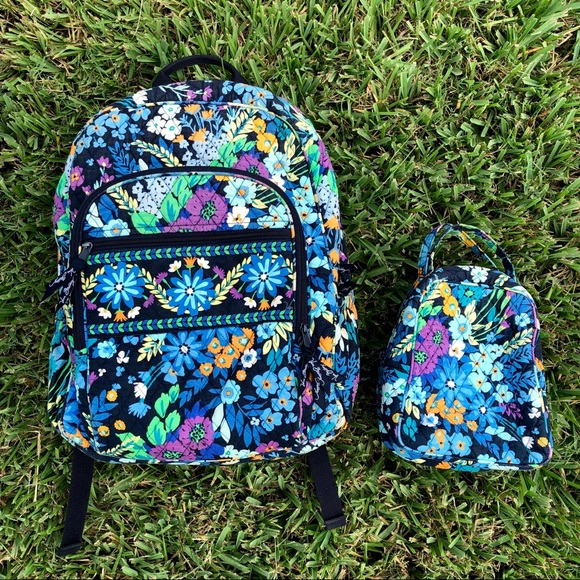 Vera Bradley Midnight Blues Campus Backpack lunch